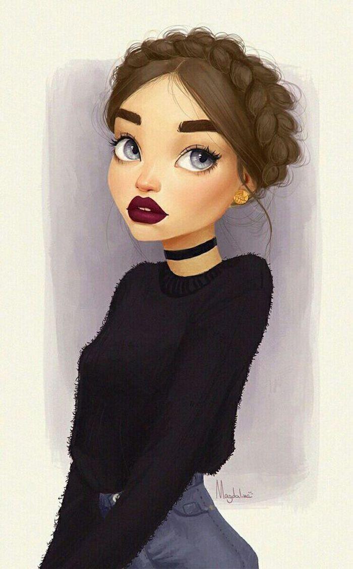 Eine Frau zeichnen lernen, mit braunen Haaren und blauen Augen, schwarzer Pullover und Jeans