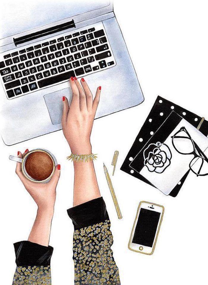Frauenhände zeichnen, am Laptop arbeiten und Kaffee trinken, goldenes Armband und roter Nagellack