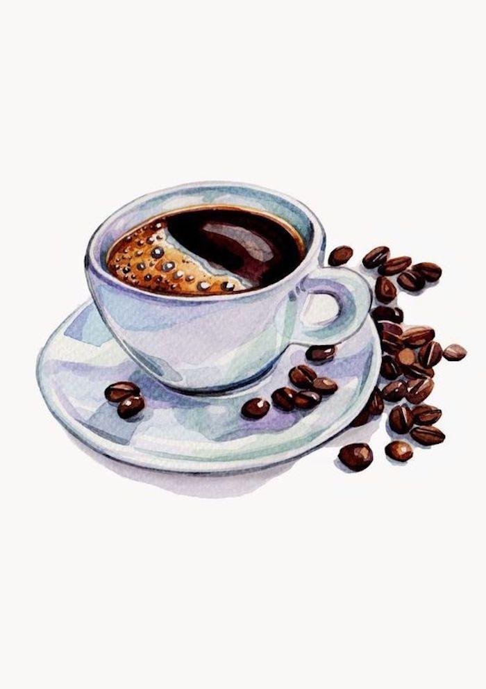 Tasse heiße Kaffee und Kaffeebohnen, weiße Tasse aus Porzellan, schönes Bild zum Nachzeichnen