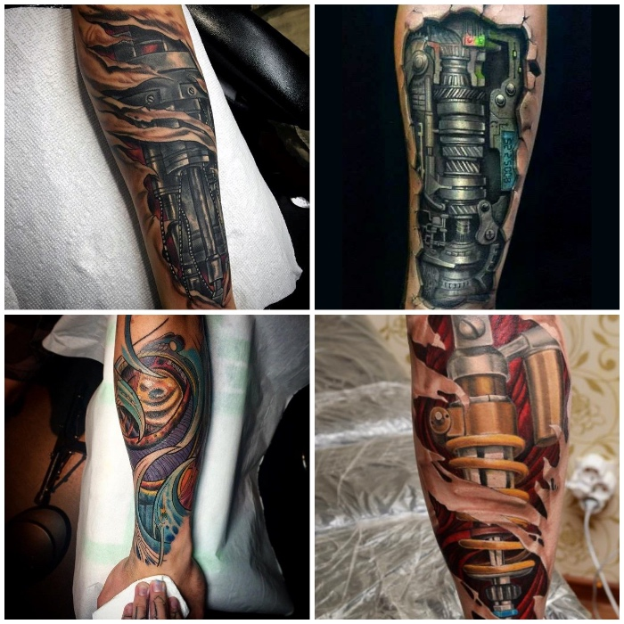die besten tattoos für männer, farbige tätowierungen mit maschinenteilen als motiven