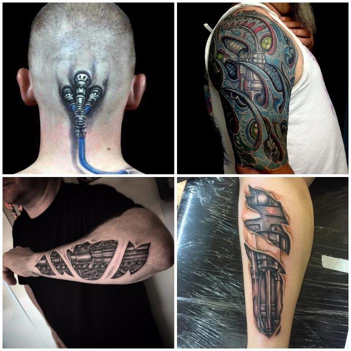 die bestne tattoos für männer, zerrissene haut, biomechanische tätowierungen, maschinenelementen