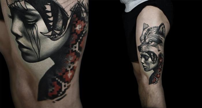 die besten tattoos, tätowierung am oberschenkel, frauengesicht mit wolfkopf