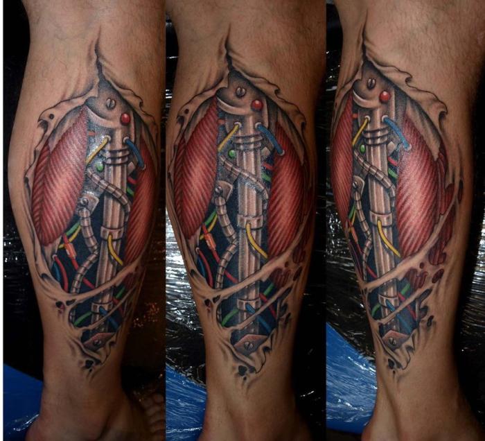die besten tattoos, maschinenteilen mit kabeln und muskel, zerrissene haut, bein tätowieren lassen