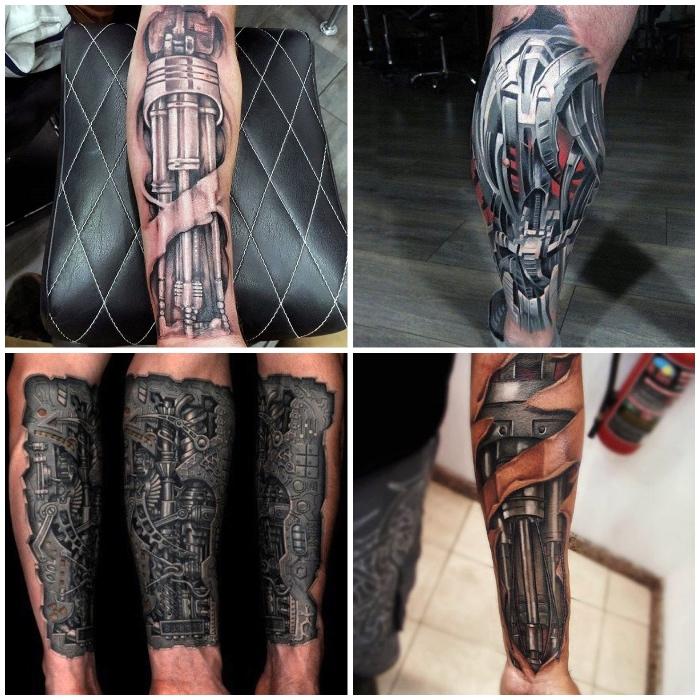 die besten tattoos, tätowierungen mit 3d motiven, maschinenteilen, zerrissene haut