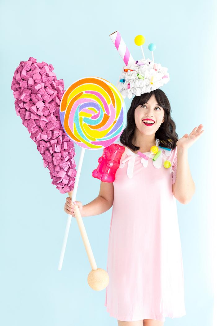 Riesiger Lutscher und Gummibärchen aus Styropor, Milchshake Kostüm für Frauen, lustige Last Minute Verkleidung