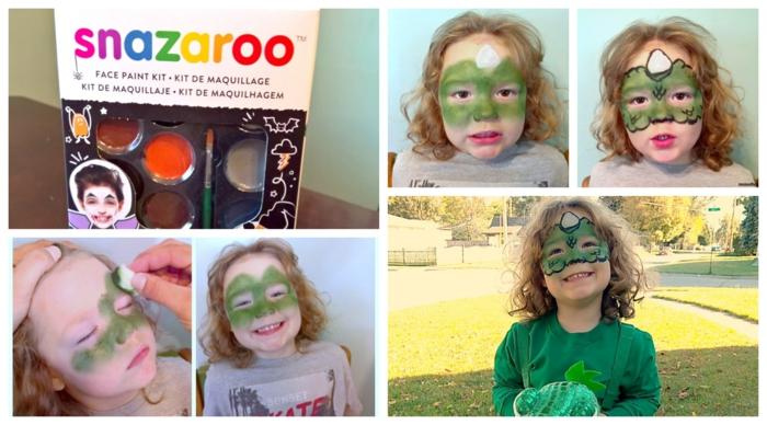 Schritt für Schritt Anleitung zum Schminken, Drachen in grüner Farbe, Kinderschminken für Halloween