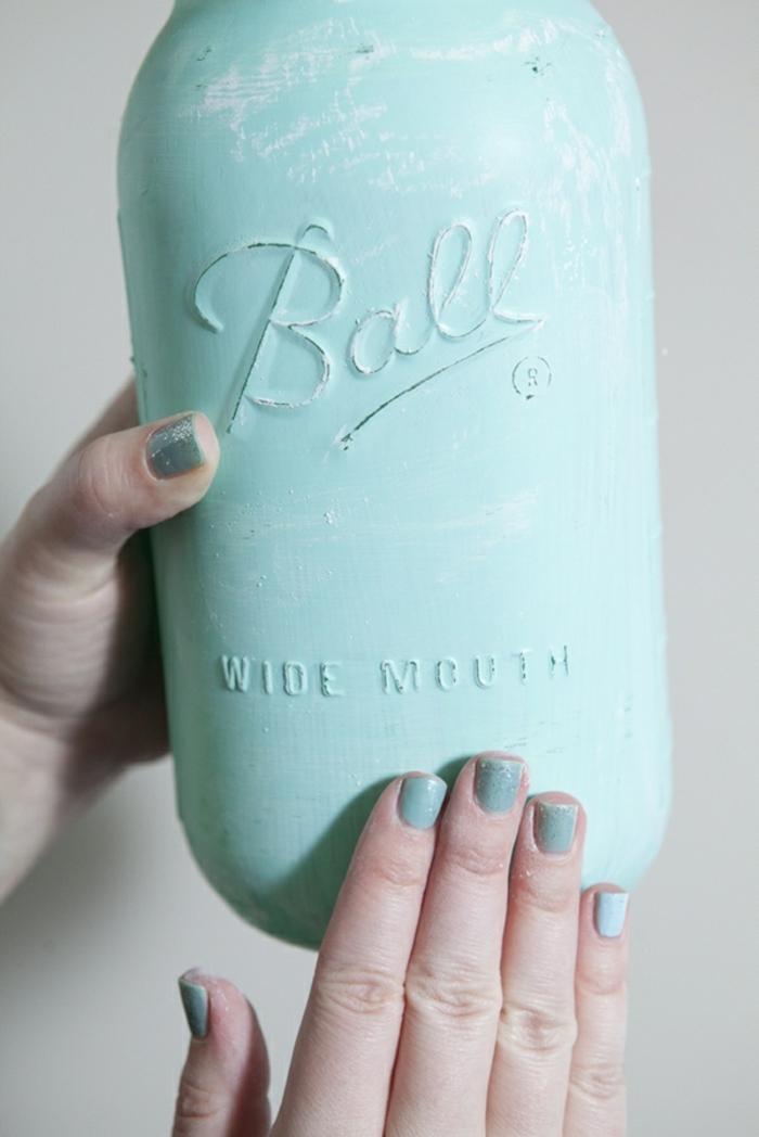 das Weckglas nach der Bearbeiten, Ideen zur Hochzeit, eine blaue Vase für die Blumen