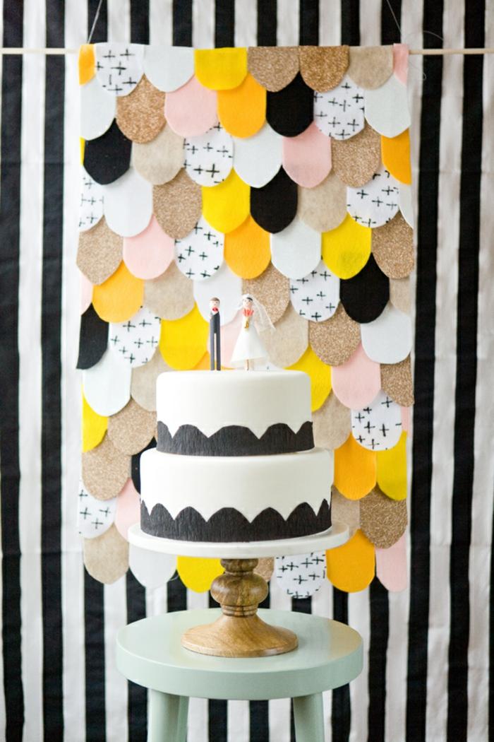 eine hängende Dekoration für Hochzeit, Ideen für Hochzeit in verschiedenen Farben