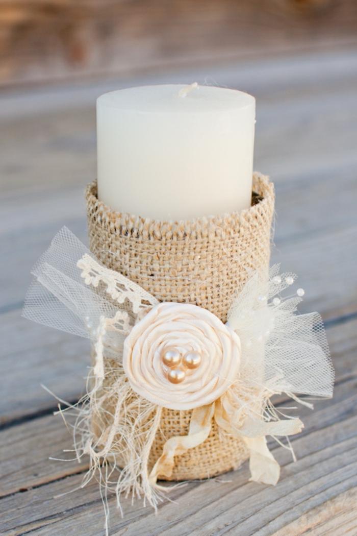 Kerzenständer aus Dose, mit Sackleinen gehüllt, Deko für Hochzeit, eine weiße Kerze