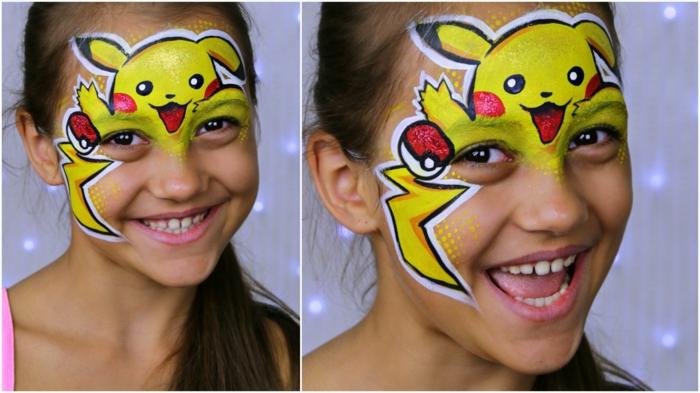 Halloween Schminken Kinder, ein Pikachu Schminke mit herausgesteckten Zungen, Halloween Schminke Kinder