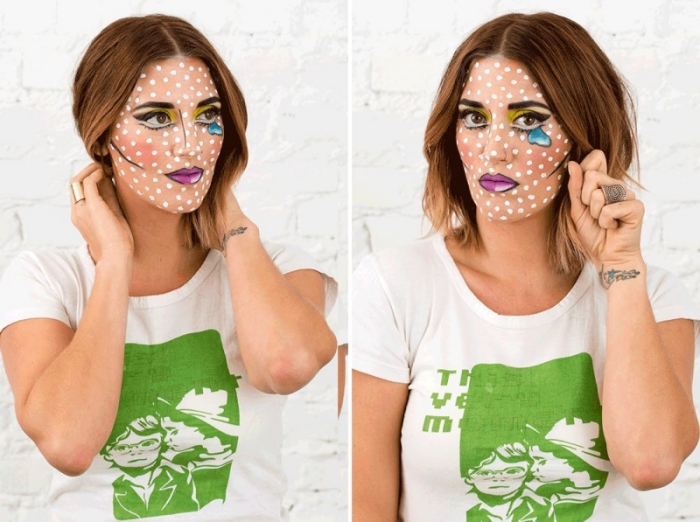 einfaches halloween make up selber machen, comics schminke tutorial, schminkideen