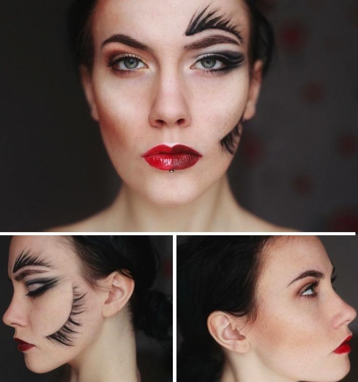 halloween makeup, blaue augen, roter lippenstift, schwarze haare schminkenideen