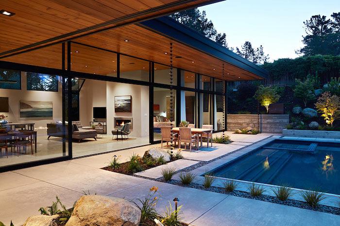 moderne häuser, luxusdesign, hausideen, traumhaftes haus mit pool und kamin innen