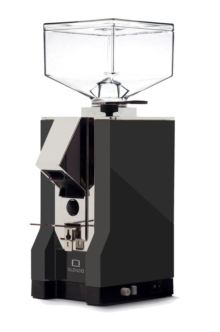 schwarze elektrische kaffeemühle silenzio mit chrome elementen, den perfekten tassee kaffee zubereiten