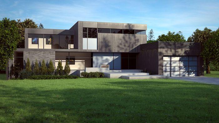 haus modern gestalten, außen und innendesign ideen, graues haus mit schöne vordergarten