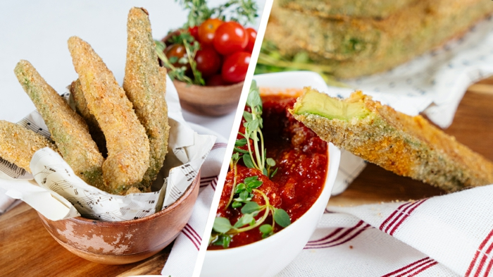 fingerfood ideen, leckere avocado fries mit tomaten soße, picknick rezepte