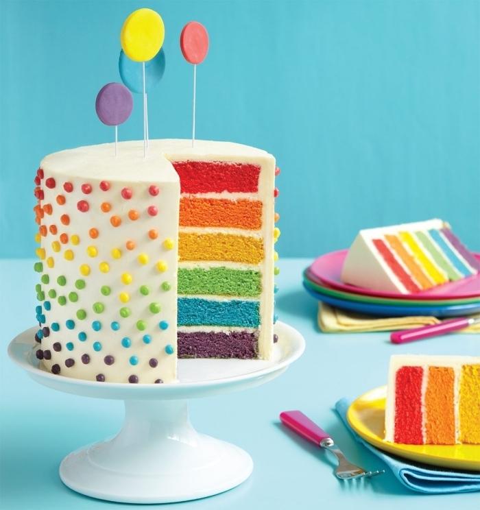Regenbogen Torte zur Taufe mit weißer Schokolade, bunte Tortenböden und Zuckerperlen