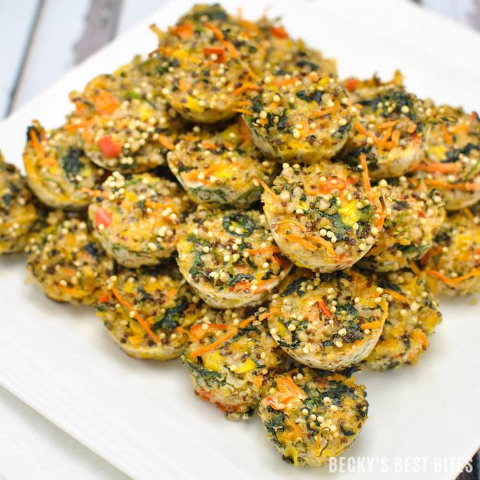 quinoa rezepte für muffins, spinat, möhren, eier, quinoa, leckere vegetarische speisen mit viel eiweiß