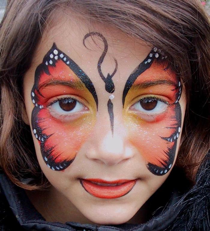 ein schöner Schmetterling in oranger Farbe mit schwarzer Konturen, Halloween Kinderschminken Vorlagen