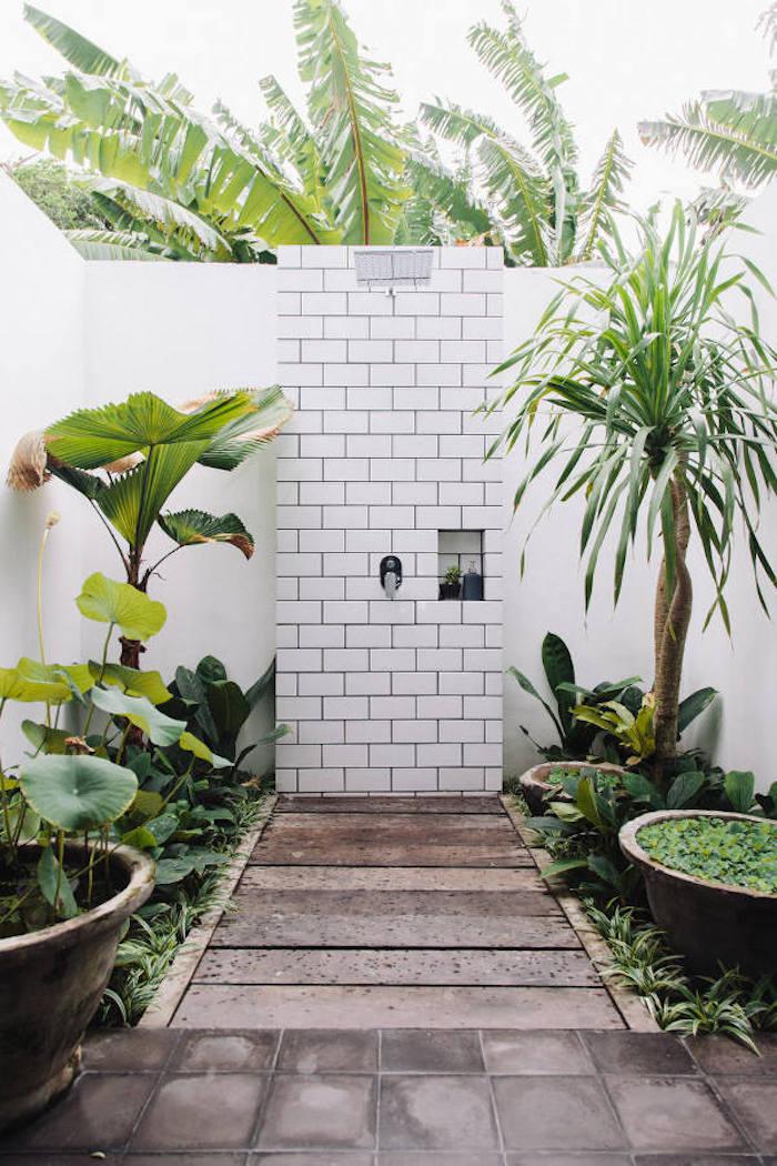 garten mit vielen grünen palmen mit großen grünen blättern, eine wand aus weißen fliesen und eine gartendusche