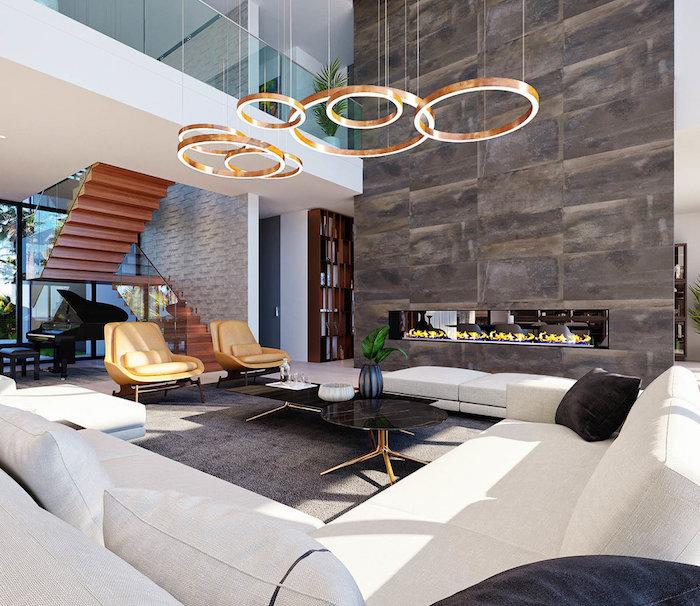 moderne häuser, beste innengestaltung ideen, interieur, lampen, großes sofa, sessel, treppe