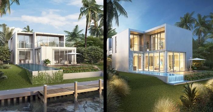 moderne häuser, hausdesign, einstöckiges haus, hausgarten, palmen, schöne begrünung