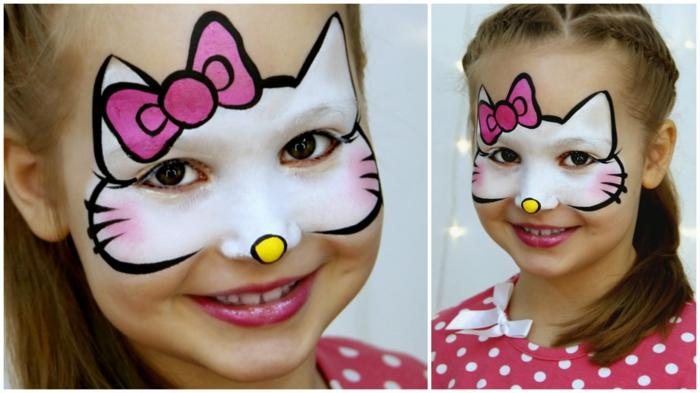 Hallo Kitty Schminke von einer jungen Damen, Katze mit einem rosa Schleife
