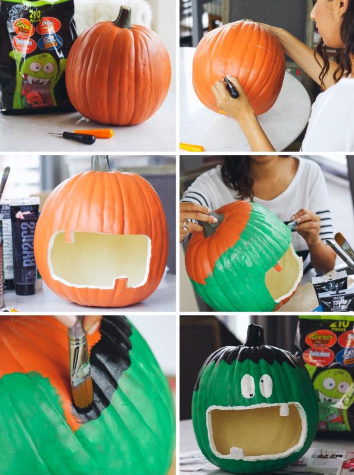 halloween bastelideen und anleitungen, zombie malen, kürbis schnitzen und dekorieren