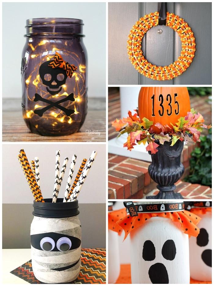 halloween bastelideen, deko zum halloween, türkranz aus maisbohnen, schwarzes einmachglas dekoriert mit lochterketten, kürbis