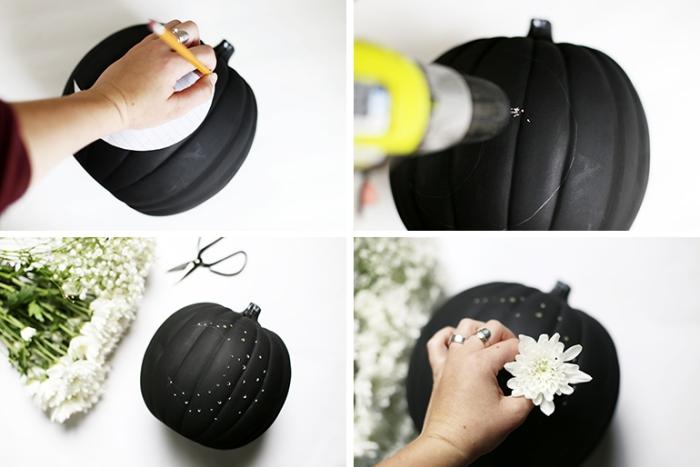 halloween bastelideen, schwarzer kürbis aus kunststoff, kleine weiße blümchen, turorial