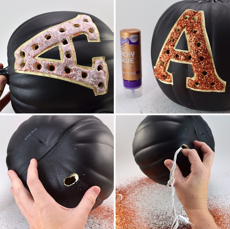 halloween bastelideen, buchstabe mit glitzer dekorierne, schwarzer kürbis aus plastik, tutorial