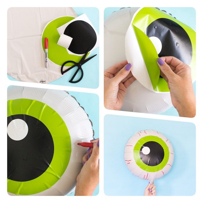Halloween Deko selber machen, Ballon als gruseliges Auge selbst gestalten, DIY Anleitung in vier Schritten
