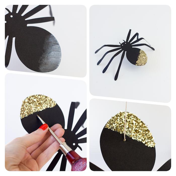 Gruselige Halloween Deko selber machen, Spinnen aus Papier schneiden, mit goldenem Glitter verzieren