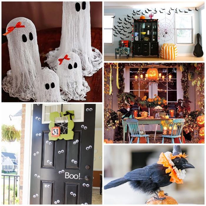 geiste aus weißem stoff, halloween basteln mit kindern, wanddeko aus papier, fliegende fledermäuse, rabe mit hut