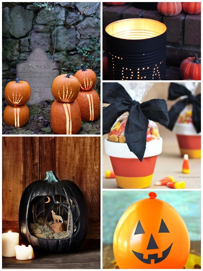 halloween basteln mit kindern, kürbisse schnitzen, windlicht aus konservendose, blumentöpfe mit bonons