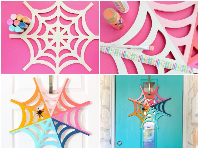 halloween basteln mit kindern, spinnennetz aus papier mit bunten farben dekorieren, türdeko ideen