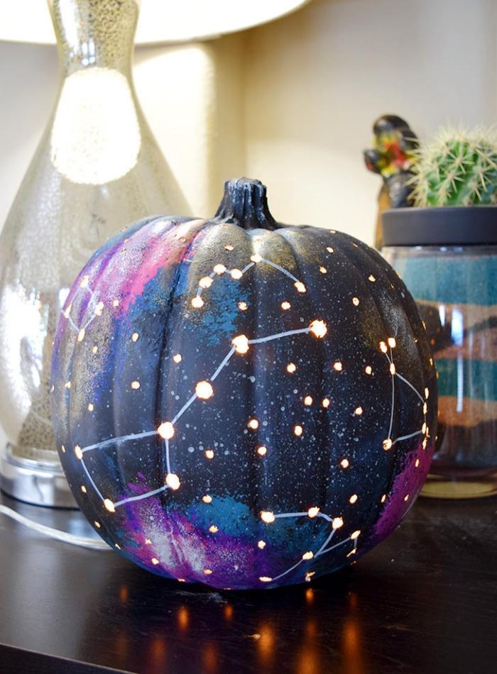 halloween basten, galaxy kürbis anleitung, diy tutorial, selbstgemachte deko