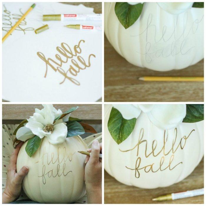 vase selber machen, halloween deko basteln, weißer kürbis mit goldenem farbstift dekorieren