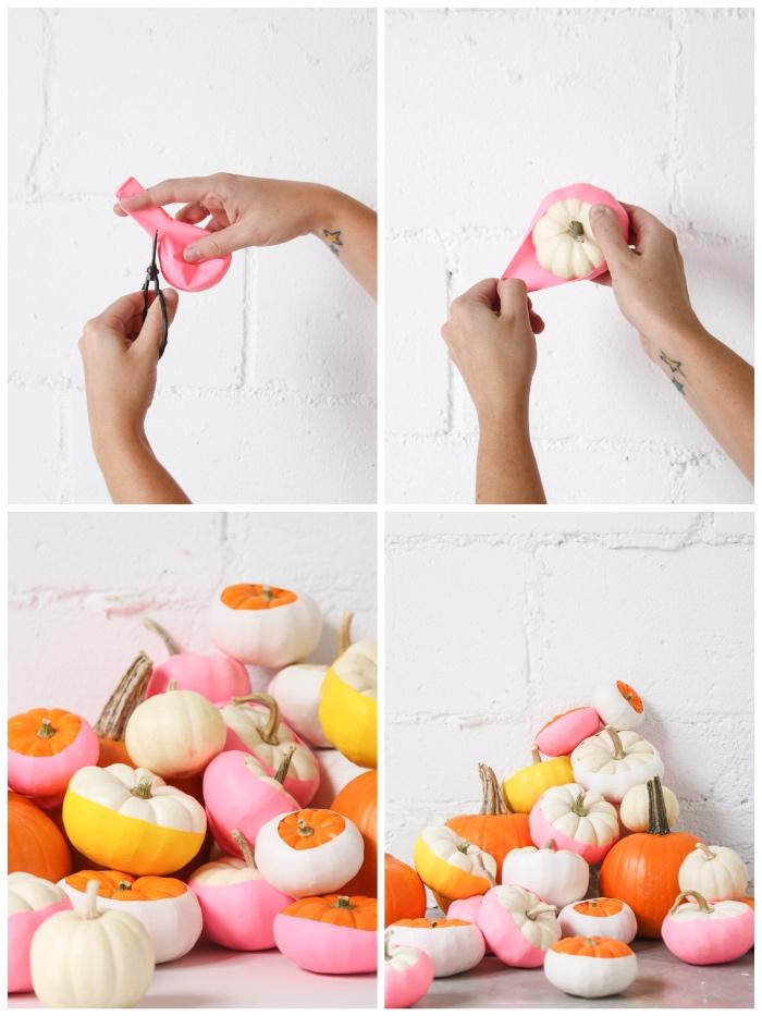 halloween deko basteln, mini kürbisse mit luftballons dekorieren, eeinfache dekoidee zum selbermachen
