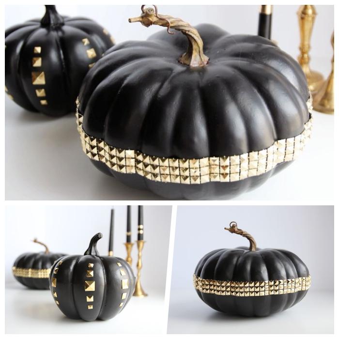 halloween deko basteln, schwarze kürbisse dekorierne mit goldenen strasssteinen