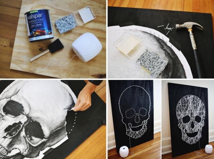 halloween deko basteln, schädel vorlage, schwarze leinwand, hammer und nagel