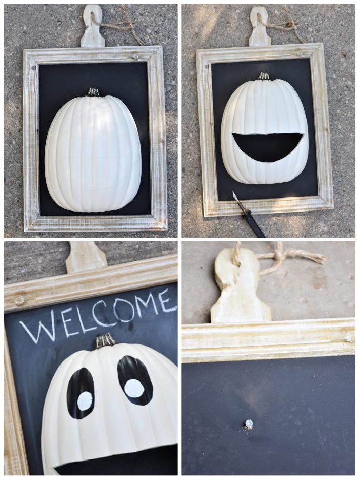 halloween deko für draußen, süßigkeiten gestell selber machen, weißer kürbis, bilderrahmen