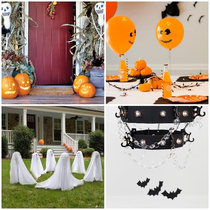 halloween deko für draußen und drinnen, orangenfarbene luftballons, tischdeko selber machen, geiste