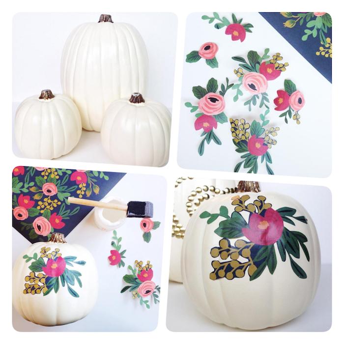 Kürbis zu Halloween mit Decoupage Technik dekorieren, mit weißer Acrylfarbe grundieren, mit Blumenmuster bekleben