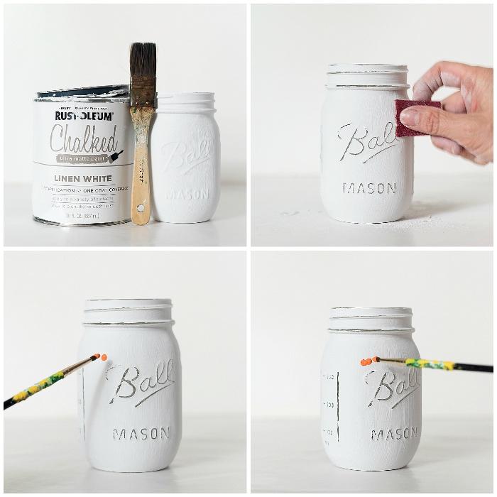 basteln mit einmachgläsern, halloween deko ideen, weiße farbe, diy vase, tutorial