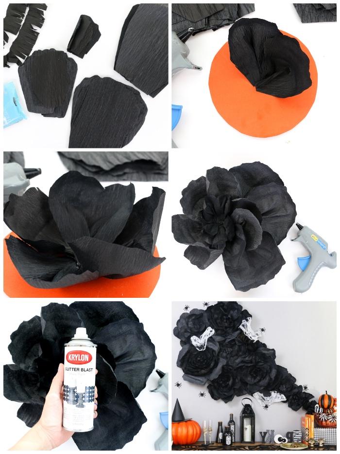 halloween deko ideen, papierblumen basteln aus schwarzem seidenpapier, wanddeko selber machen