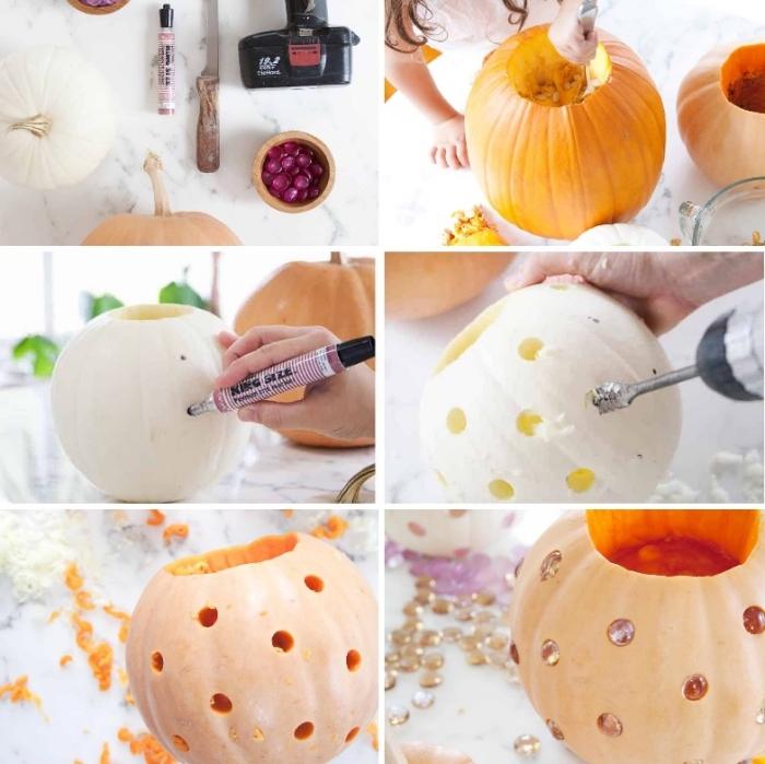halloween deko selber machen, kürbis schnitzen, diy laternen dekoriert mit strasssteinchen, tutorial