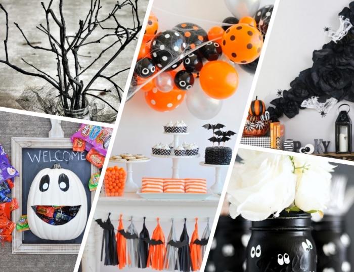 halloween basteln, diy anleitungen, weißer kürbis, partydeko mit ballons, große papieblumen, diy vase aus einmachglas