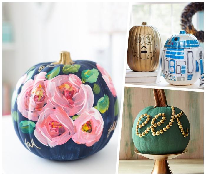 halloween deko selber machen, kürbisse dekorieren, rosen malen, golden strassteine, robot