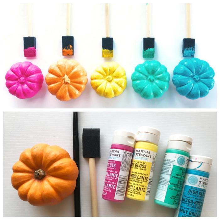 halloween deko selber machen, kürbisse färben, bunte quarellfarben, partydeko